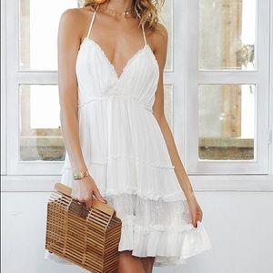 NWT white open-back peasant dress, Sz. 6